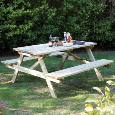Rowlinson Wooden 5ft Picnic Bench, Rowlinson Round Picnic Table